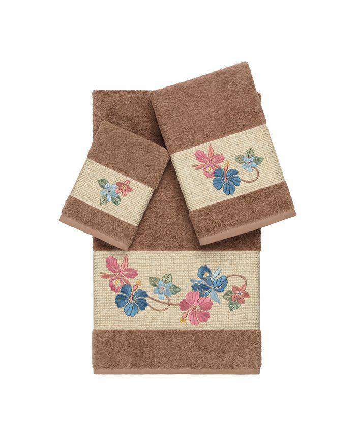 Linum Home - Caroline 3-Pc. Embroidered Turkish Cotton Towel Set