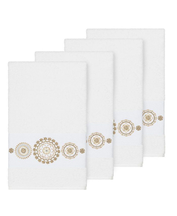 Linum Home - Isabelle 4-Pc. Embroidered Turkish Cotton Hand Towel Set