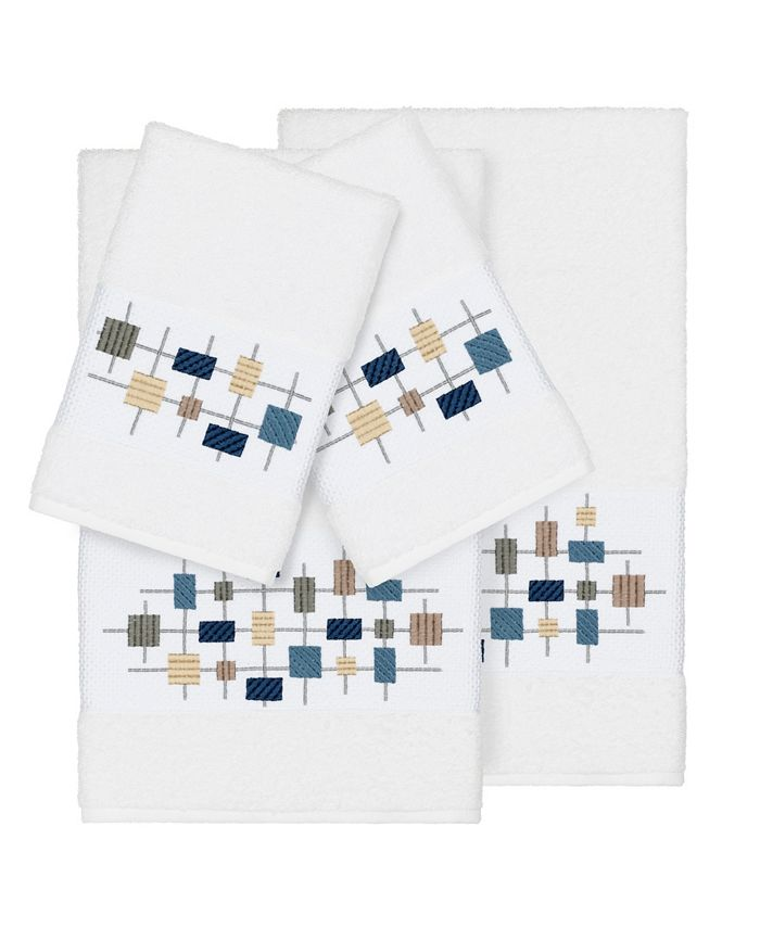 Linum Home - Khloe 4-Pc. Embroidered Turkish Cotton Bath and Hand Towel Set