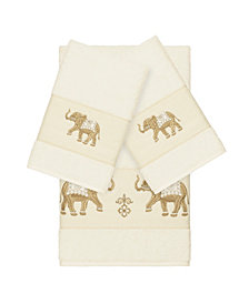 Linum Home Quinn 3-Pc. Embroidered Turkish Cotton Bath and Hand Towel Set