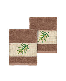 Linum Home Zoe 2-Pc. Embroidered Turkish Cotton Washcloth Set