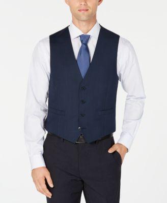 Men's Slim-Fit Stretch Blue/Charcoal Birdseye Suit Vest