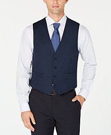 Calvin Klein Men's Slim-Fit Stretch Blue/Charcoal Birdseye Suit Vest