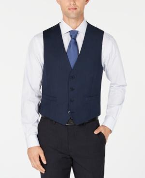 Calvin Klein Men's X-Fit Slim-Fit Stretch Blue Birdseye Suit Vest