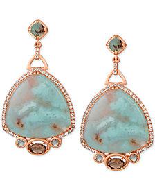 Le Vian® Sky Aquaprase (24 x 24mm) & Multi-Gemstone (1-3/4 ct. t.w.) Drop Earrings in 14k Rose Gold, Created for Macy's
