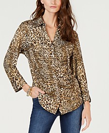 INC Printed Ruched Blouse, Created for Macy's