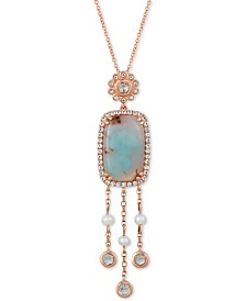 "Le Vian® Sky Aquaprase (16 x 10mm), White Topaz (3/4 ct. t.w.) & Cultured Freshwater Pearl (3mm) 20"" Pendant Necklace in 14k Rose Gold, Created for Macy's"