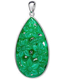 Dyed Jadeite (22 x 38mm) Carved Floral Teardrop in Sterling Silver