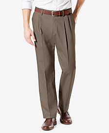 Men's Signature Lux Cotton Classic Fit Pleated Creased Stretch Khaki Pants