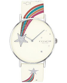 COACH Women's Perry White Leather Strap Watch 36mm Created for Macy's