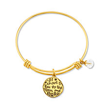 "Unwritten Yellow Gold Tone ""I Love You to the Moon and Back"" Crystal Moon and Heart Charm Bangle Bracelet, 8"" Length, 2.25"" Diameter"