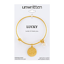 """Unwritten Yellow Gold Tone """"Lucky to Have You"""" Elephant Charm Bangle Bracelet, 8"""" Length, 2.25"""" Diameter"""