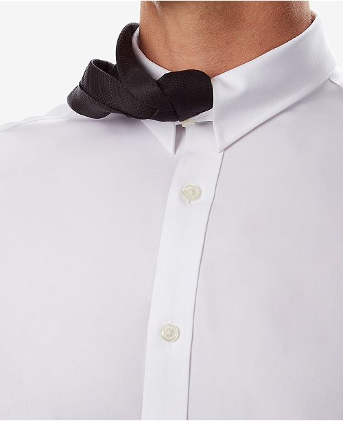 512432bc2 Tommy Hilfiger Men's Fitted TH Flex Cooling Stretch Performance White Dress  Shirt ...