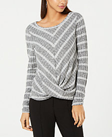 BCX Juniors' Striped Twist-Front Sweater