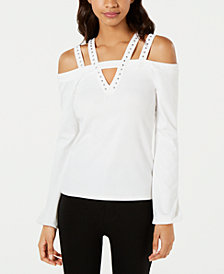 XOXO Juniors' Strappy Embellished Top