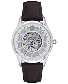 Emporio Armani Men's Automatic Dark Brown Leather Strap Watch 43mm