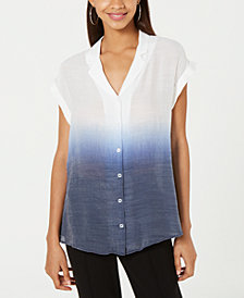 BCX Juniors' Ombré Button-Front Top