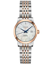 Women's Swiss Automatic Record Diamond-Accent Stainless Steel & 18k Rose Gold Cap 200 Bracelet Watch 30mm