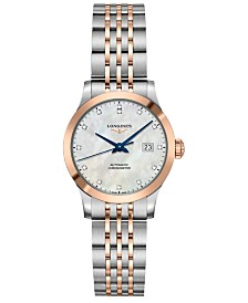 Longines Women's Swiss Automatic Record Diamond-Accent Stainless Steel & 18k Rose Gold Cap 200 Bracelet Watch 30mm