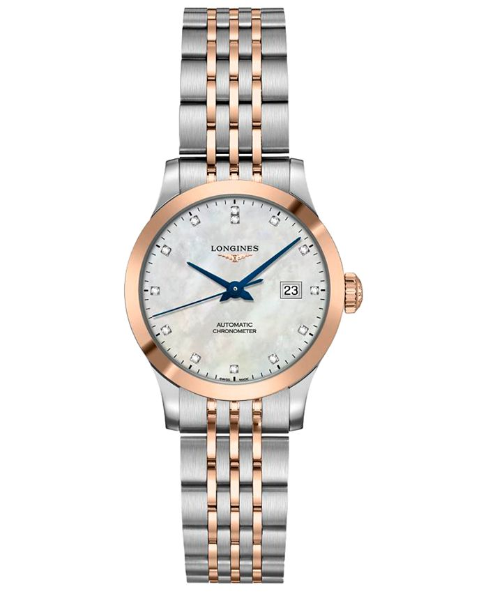 Longines - Women's Swiss Automatic Record Diamond-Accent Stainless Steel & 18k Rose Gold Cap 200 Bracelet Watch 30mm