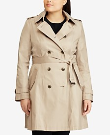 Lauren Ralph Lauren Plus Size Double Breasted Trench Coat, Created for Macy's