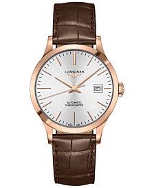 Longines Men's Swiss Automatic Record Brown Alligator Leather Strap Watch 39mm