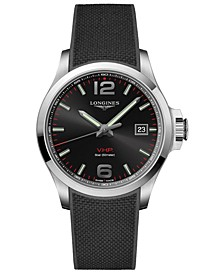 Men's Swiss Conquest V.H.P. Black Rubber Strap Watch 43mm