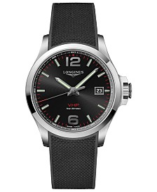 Longines Men's Swiss Conquest V.H.P. Black Rubber Strap Watch 43mm