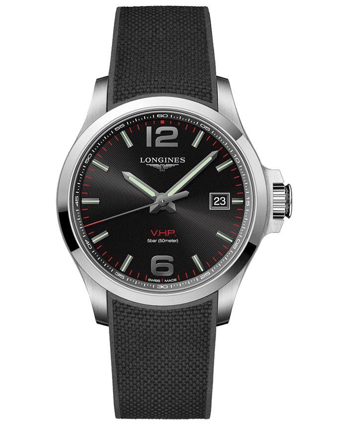 Longines - Men's Swiss Conquest V.H.P. Black Rubber Strap Watch 43mm