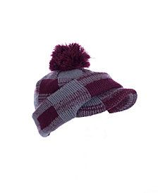 Red Checkered Pom Hat With Neck & Face Guard