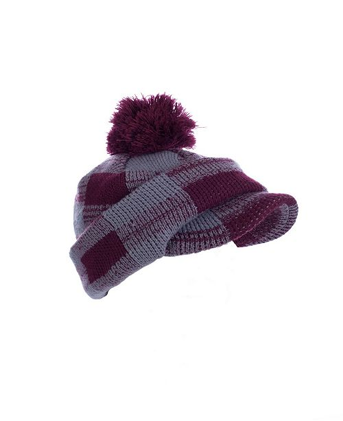 MinxNY Red Checkered Pom Hat With Neck & Face Guard