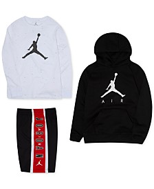 Jordan Little Boys Speckle-Print T-Shirt, Jumpman Hoodie & Colorblocked Shorts