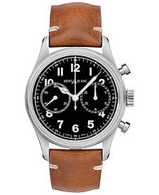 Montblanc Swiss Automatic Chronograph 1858 Cognac Leather Strap Watch 42mm
