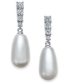 Danori Silver-Tone Crystal & Imitation Pearl Drop Earrings, Created for Macy's