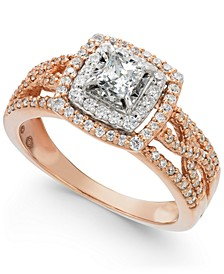 Diamond Princess Halo Engagement Ring (3/4 ct. t.w.) in 14k Rose Gold