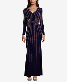 XSCAPE Vertical-Embellished Evening Gown