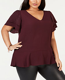 MICHAEL Michael Kors Plus Size Double-Flutter Sleeve Top