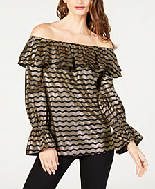 MICHAEL Michael Kors Metallic Off-The-Shoulder Flounce Top