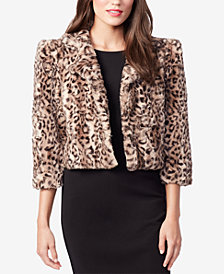 Betsey Johnson Faux-Fur Animal-Print Shrug