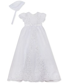 Rare Editions Baby Girls Organza Christening Gown With Matching Cap
