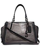 7efcf4e3098 COACH Mixed Leather with Metallic Details Dreamer Satchel