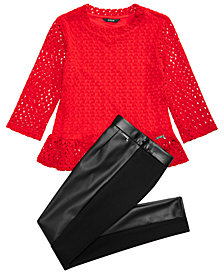 GUESS Big Girls Stretch Crochet Top & Faux Leather Leggings