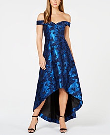 Calvin Klein Printed Off-The-Shoulder High-Low Gown