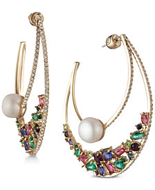 "Carolee Gold-Tone Multicolor Crystal & Freshwater Pearl (10mm) 2-1/4"" Statement Hoop Earrings"