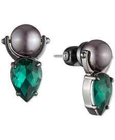 Carolee Hematite-Tone Crystal & Imitation Pearl Door Knocker Drop Earrings