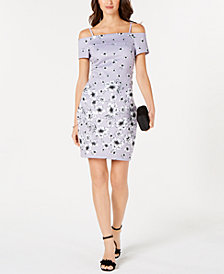 GUESS Off-The-Shoulder Floral-Print Dress