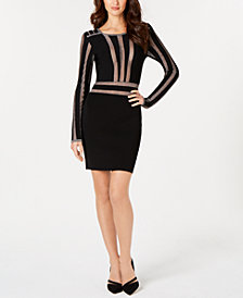 GUESS Metallic-Stripe Sweater Dress, Created for Macy's