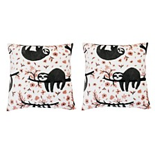 "Polyester Fill Seth Sloth Fleece Pillow, Pack of 2, 18"" x 18"""