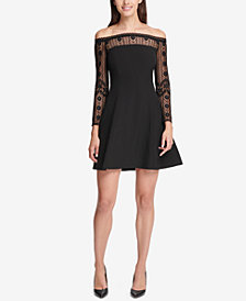kensie Off-The-Shoulder Lace-Trim Dress