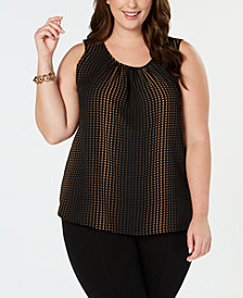 Anne Klein Plus Size Printed Scoop-Neck Sleeveless Top